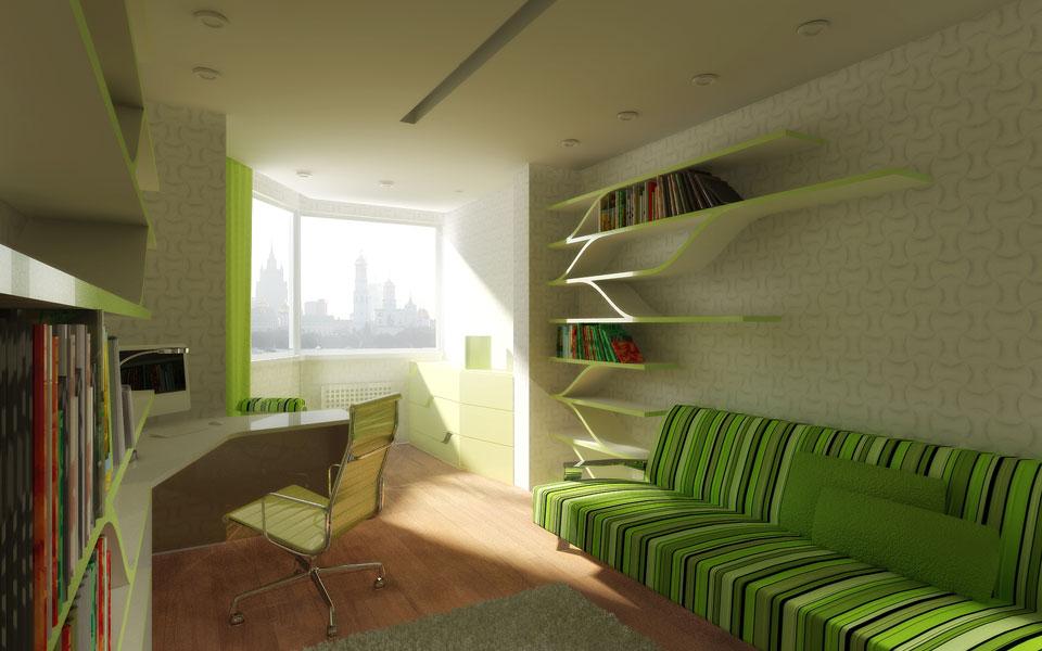 бібліотека-кабінет з гнутими полицями