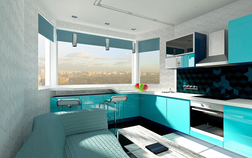 барна стійка коло вікна в інтер'єрі кухні