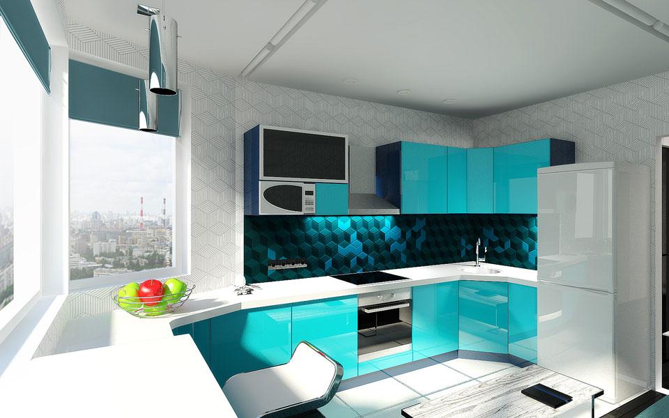 дизайн інтер'єру кухні в двокімнатній квартирі