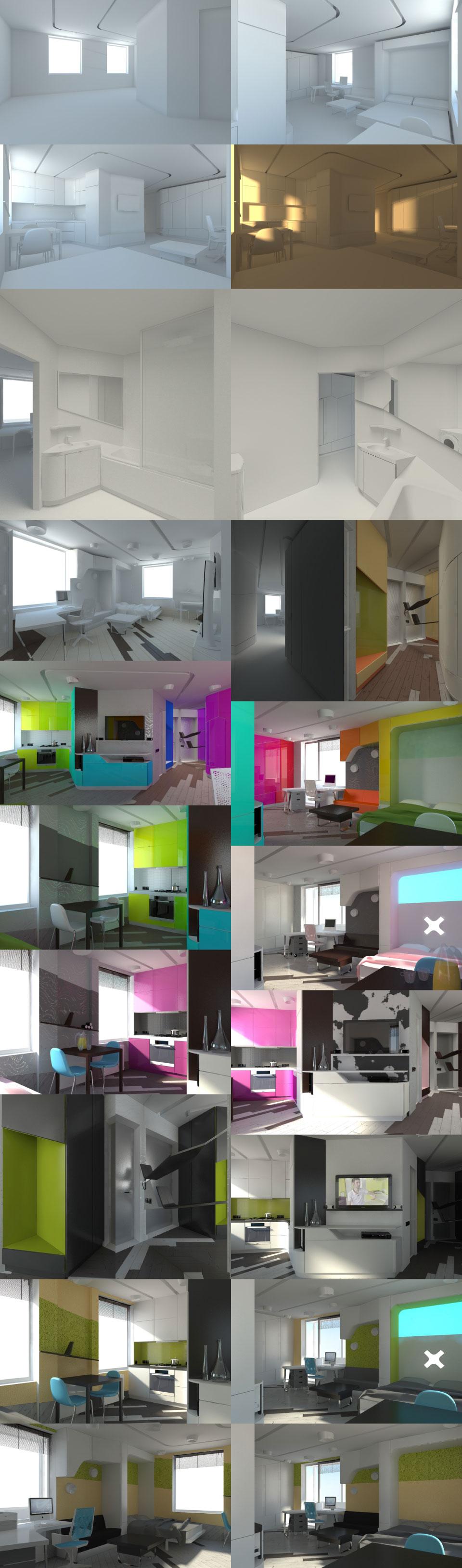перепланування хрущовки в студію (колірні рішення)