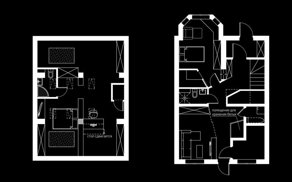 планування інтер'єру таунхаусу: перший та четвертий поверхи