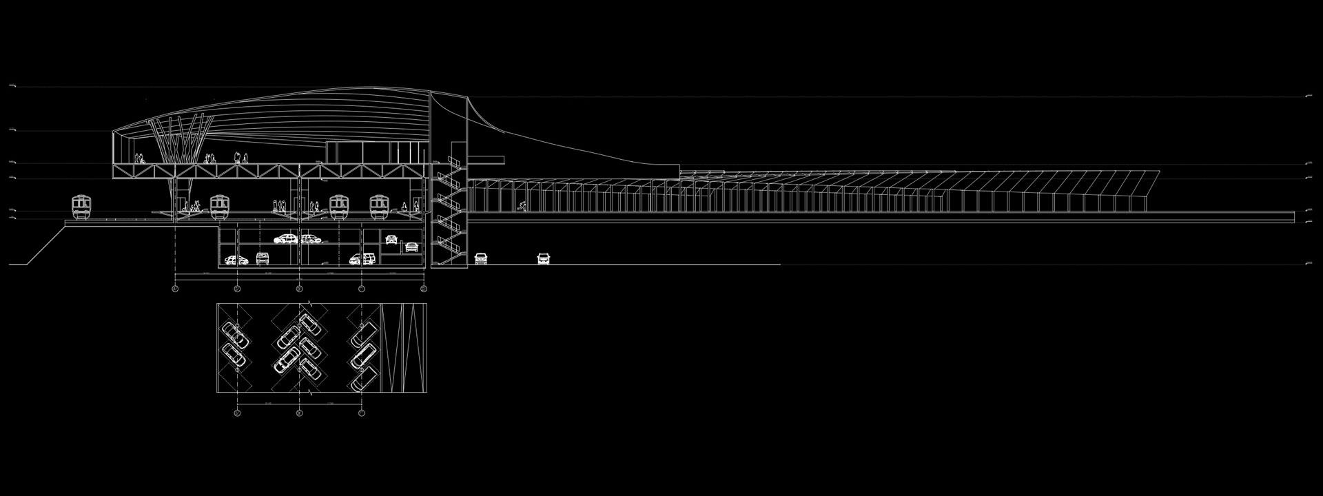 архітектурний розріз вокзалу / транспортного вузла