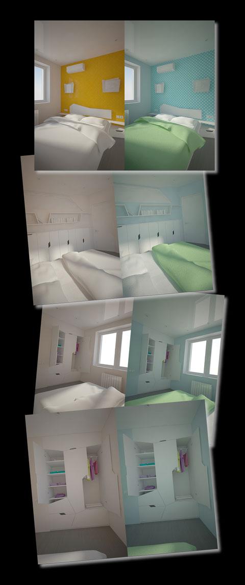 колірне рішення, дизайн спальні