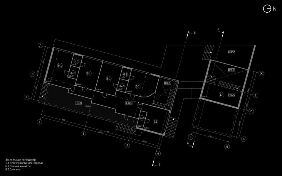 план другого поверху мисливського будинку