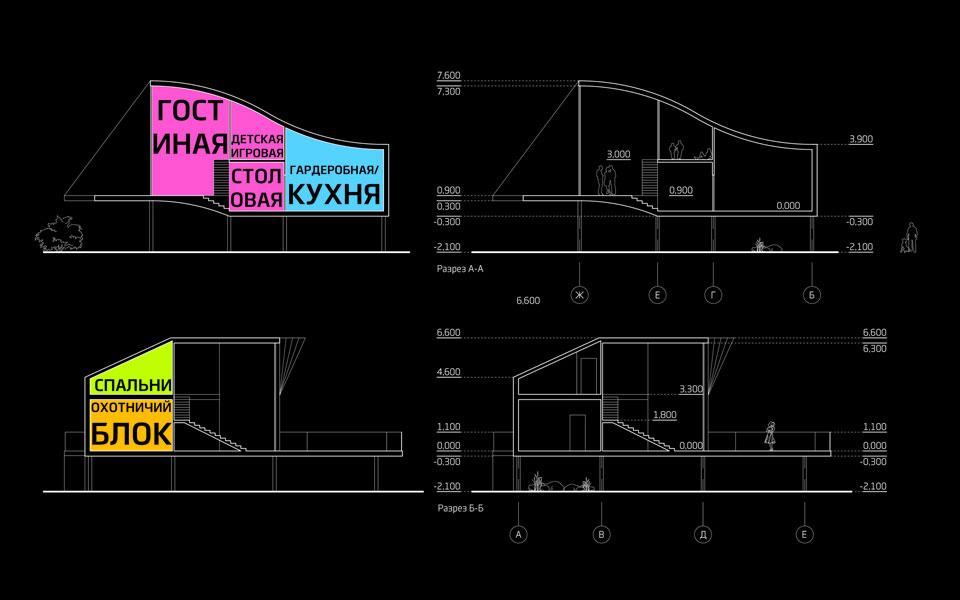 архітектурний розріз будинку для мисливців