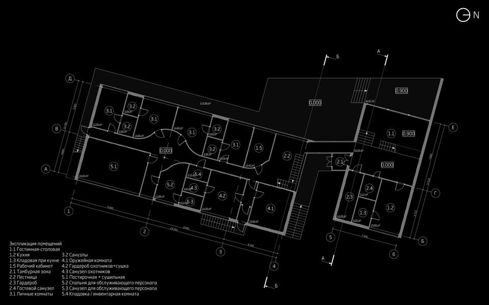 план першого поверху будинку мисливців