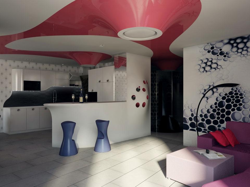 дизайн інтер'єру трикімнатної квартири в києві