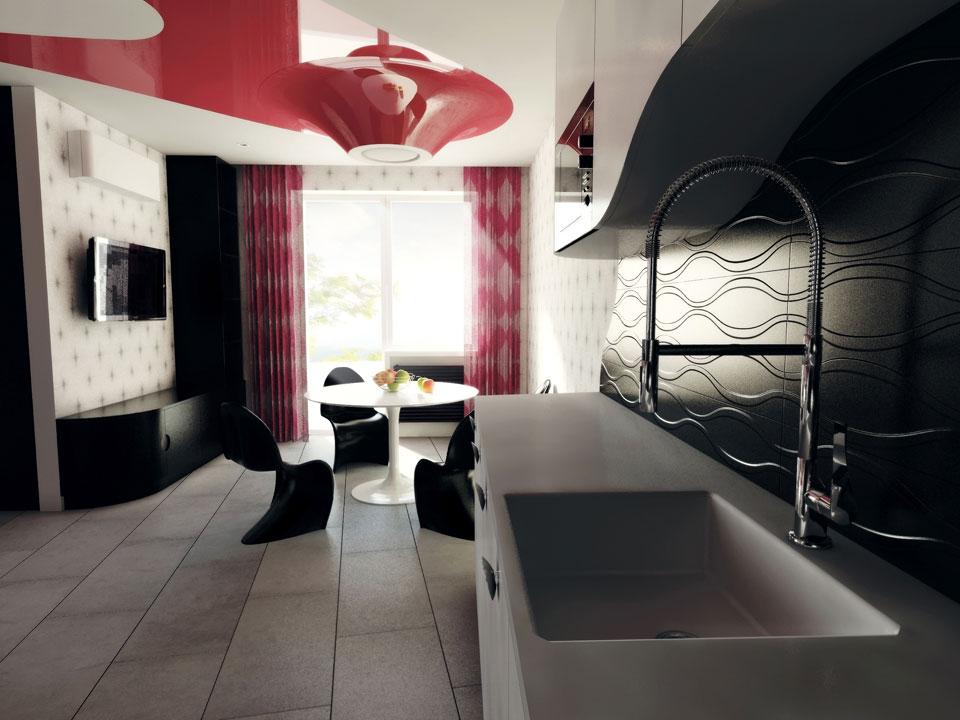дизайн інтер'єру кухні/їдальні в трикімнатній квартирі, параметрика