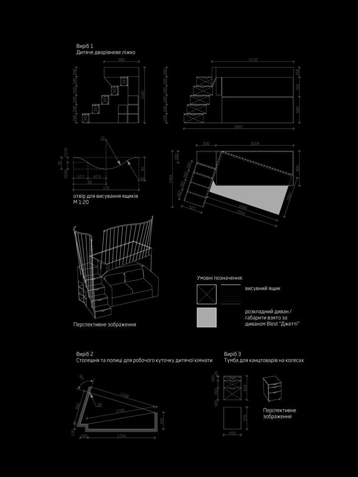 дизайн дитячих меблів - проект інтер'єру