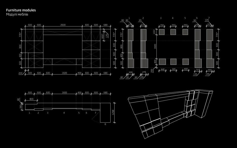 креслення модульних меблів - меблева стінка