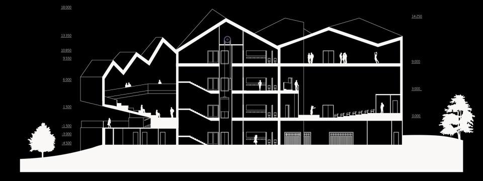 конкурсний архітектурний проект - креслення, розріз