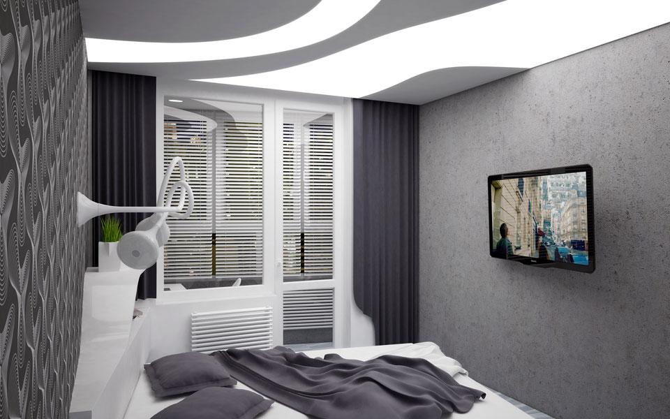 дизайн інтер'єру спальні, урлівська 40