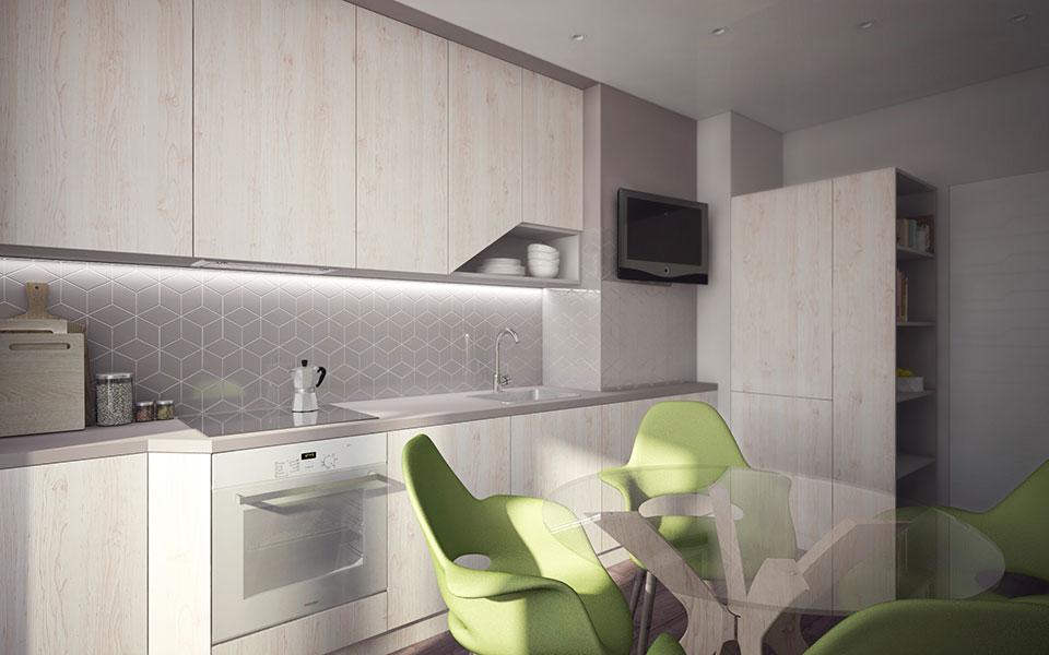 інтер'єр квартири москва - дизайн кухні