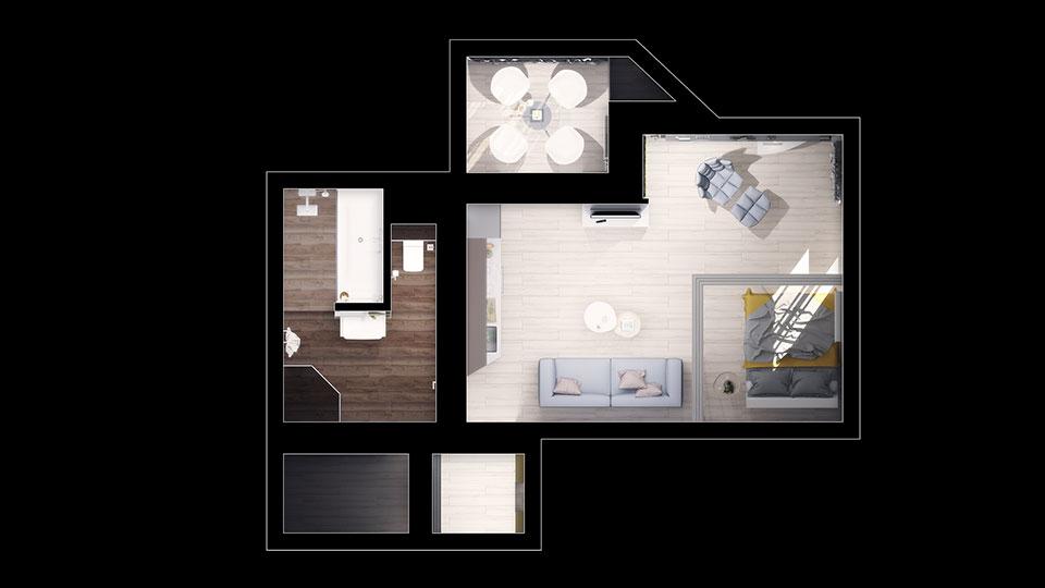 дизайн квартири київ - крущовка студія план