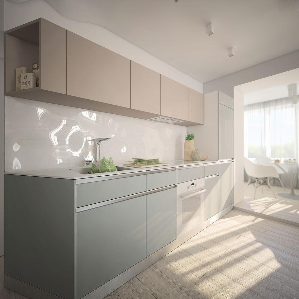 кухня в опенспейсі. дизайн квартири київ