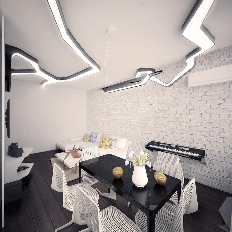 дизайн квартири москва - інтер'єр вітальні
