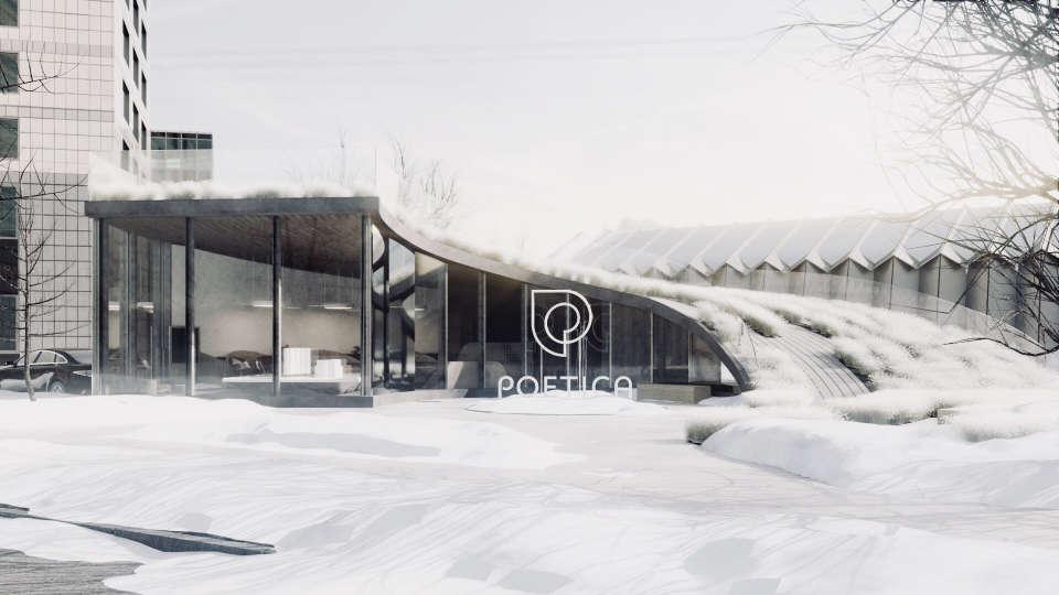 офіс з зеленим дахом зимою