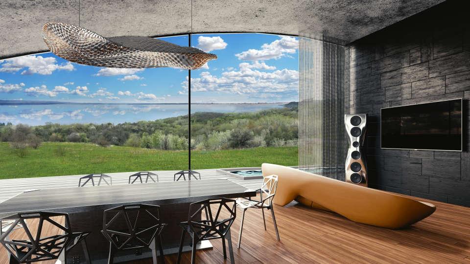 вид з вітальні на дніпро - архітектура житла
