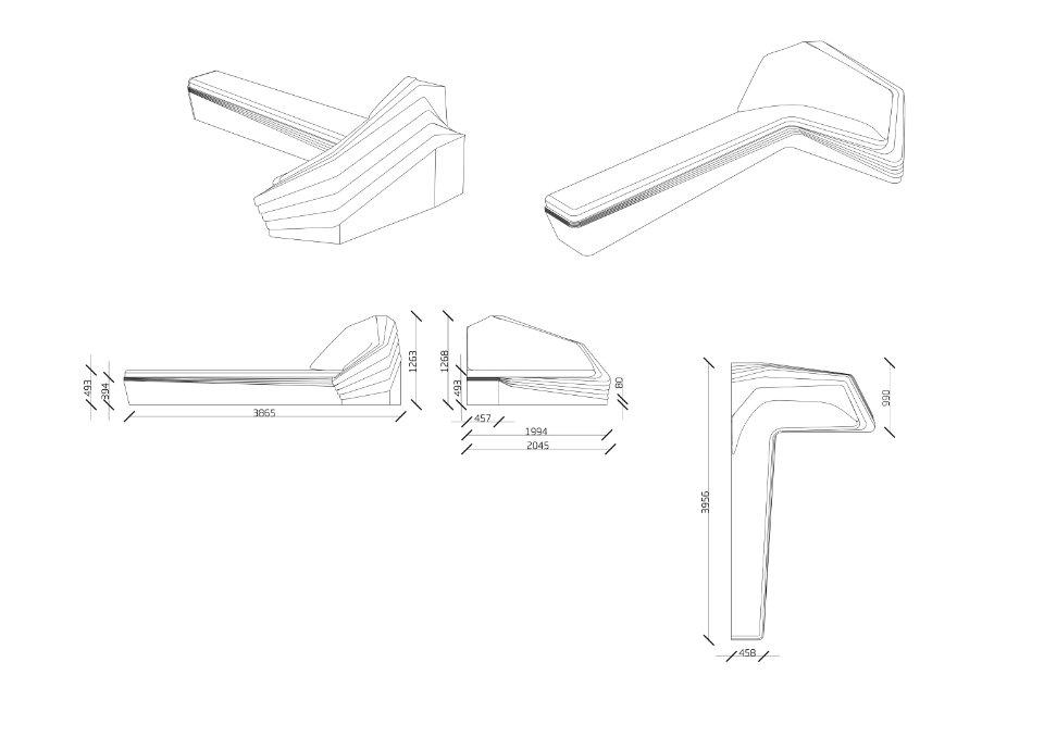 параметричний дизайн - диван складної геометрії