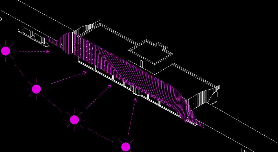 схема сонцезахисту фасаду. пластини