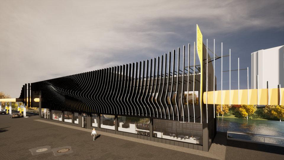 сонцезахисні ламелі на фасаді